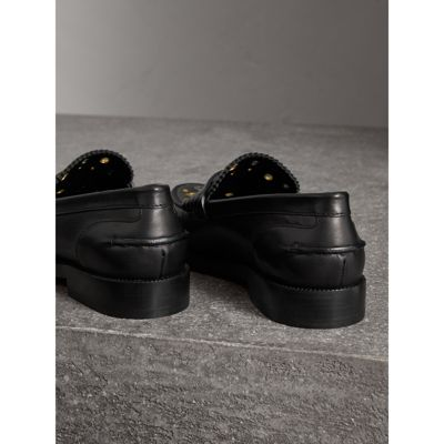 Burberry - Mocassins Penny Loafers en cuir avec œillets - 4