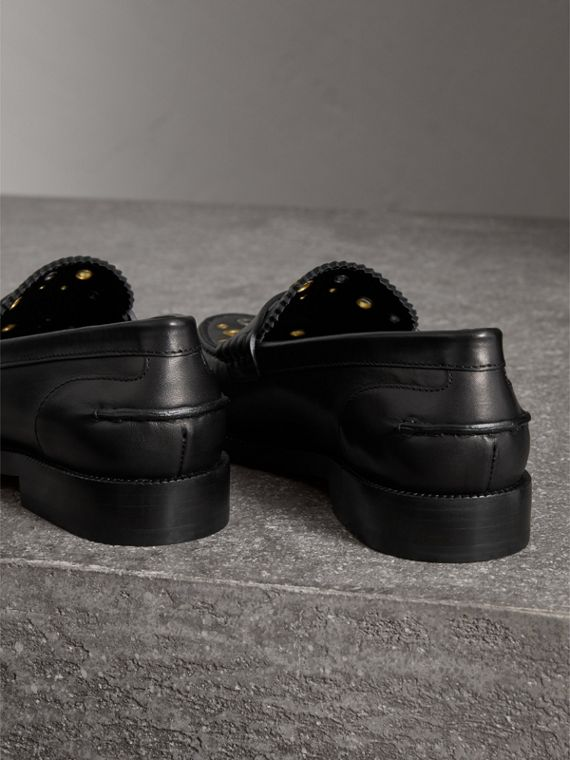 Eyelet Detail Leather Penny Loafers in Black - Women | Burberry Australia - cell image 3