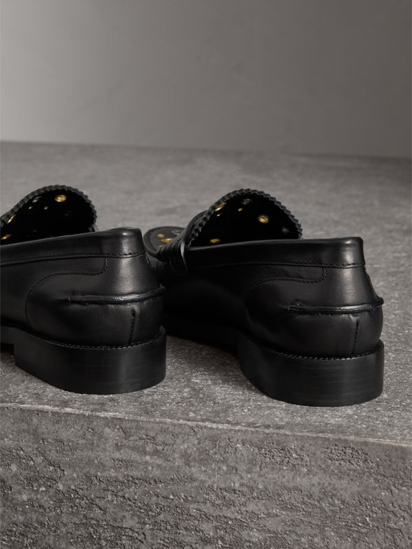 Eyelet Detail Leather Penny Loafers in Black - Women | Burberry United Kingdom - cell image 3