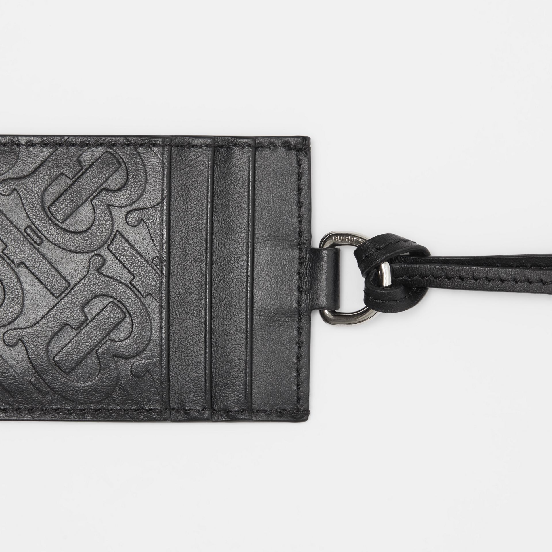 Monogram Leather Card Case Lanyard in Black - Men | Burberry - gallery image 1