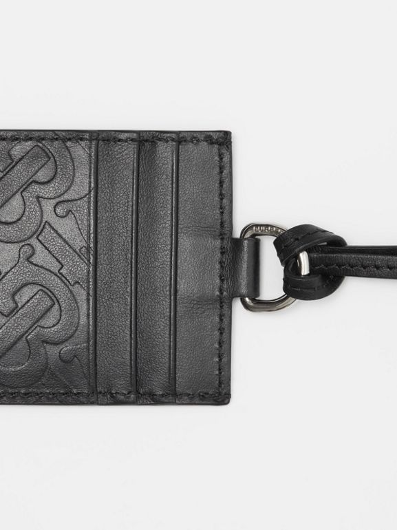 Monogram Leather Card Case Lanyard in Black - Men | Burberry Canada - cell image 1