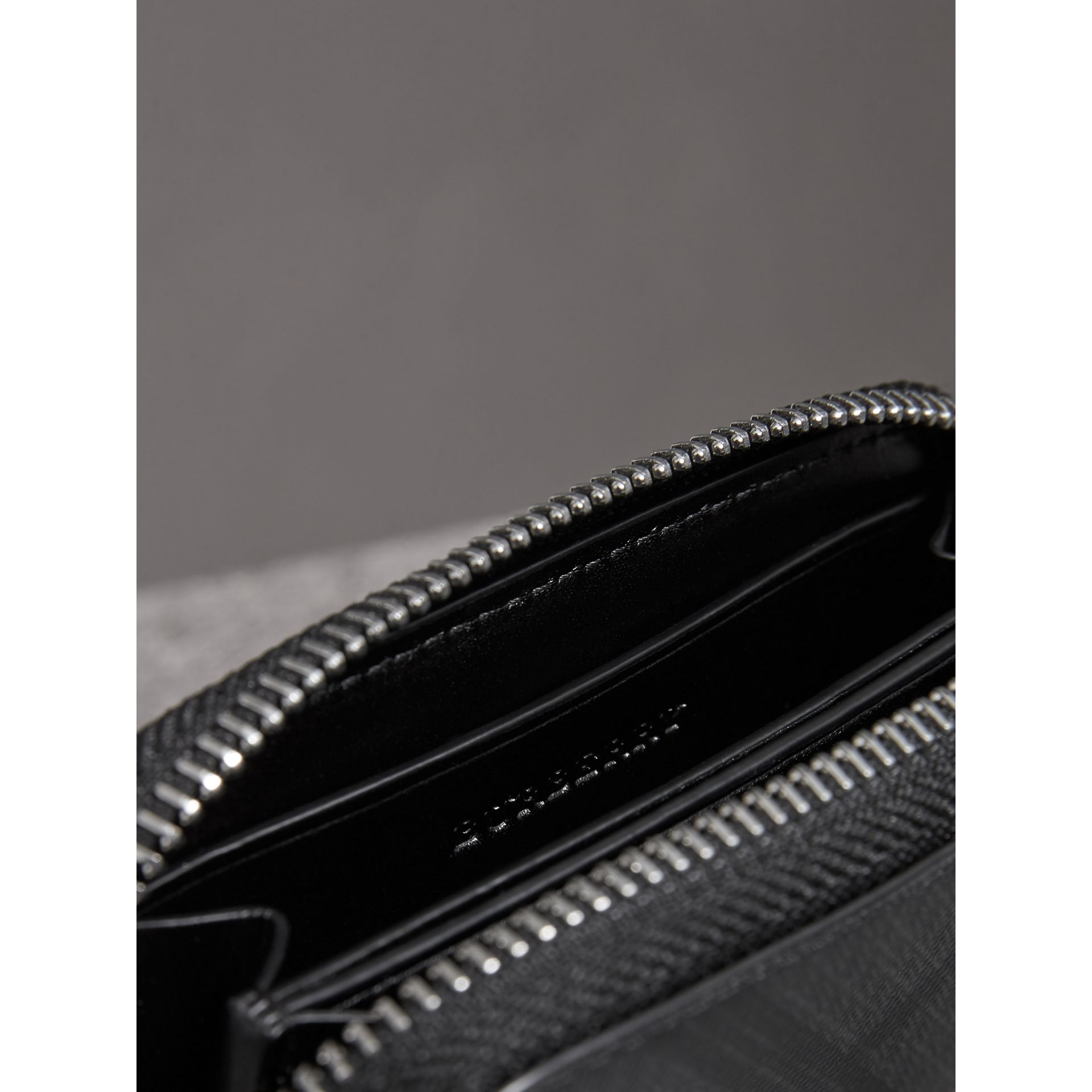 London Check Ziparound Coin Case in Black/charcoal - Men | Burberry - gallery image 3