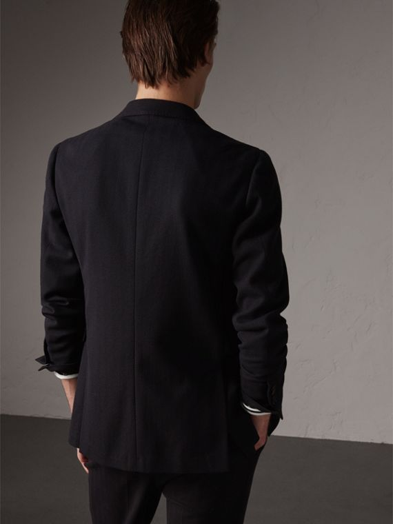 Soho Fit Herringbone Cotton Blend Jacket in Navy - Men | Burberry Singapore - cell image 2