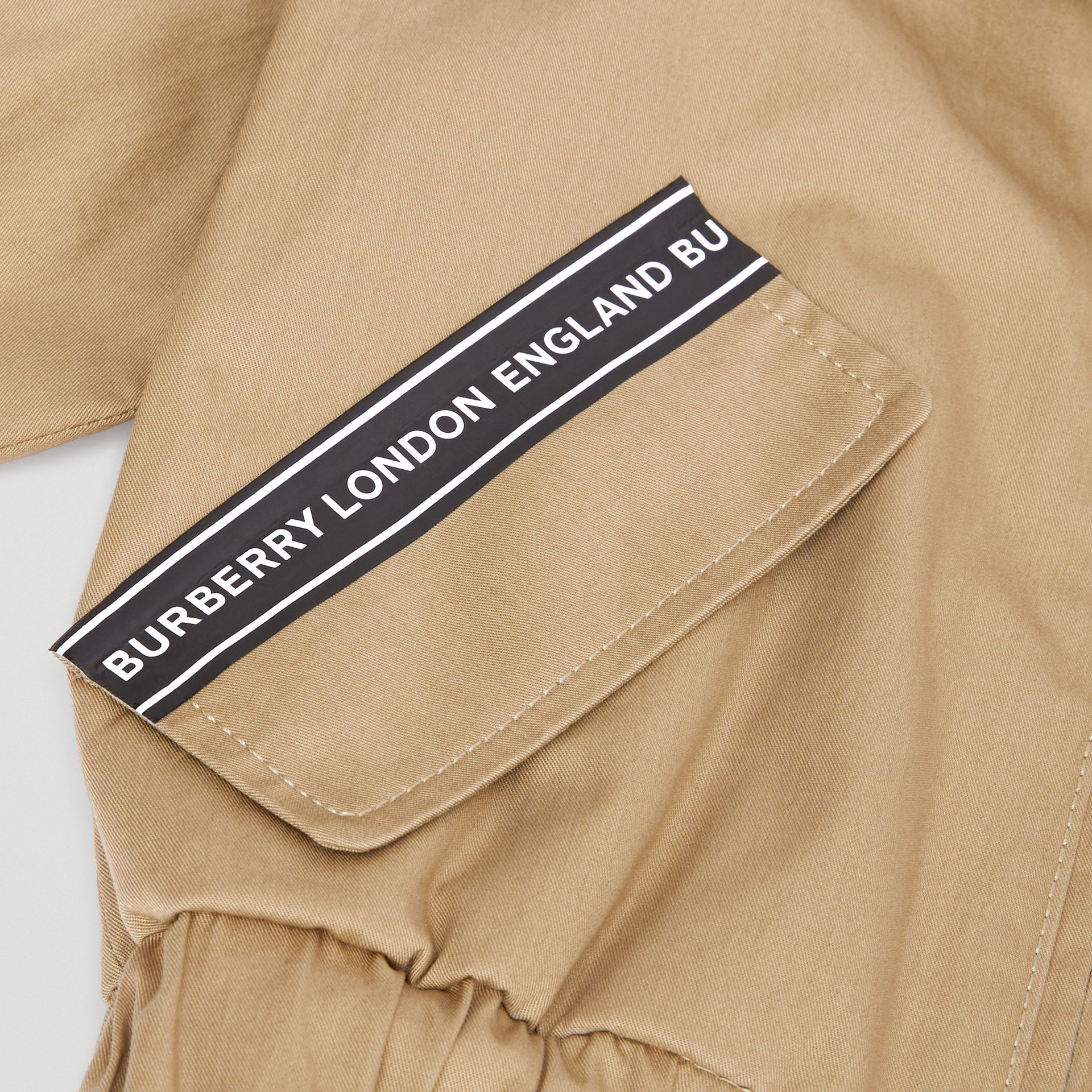 Logo Tape Cotton Harrington Jacket in Honey - Children | Burberry Singapore - gallery image 1