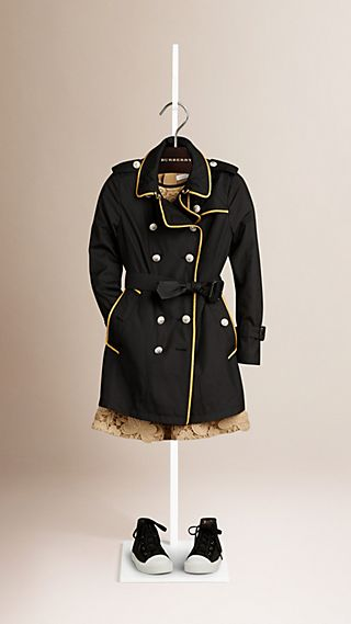 Trench-coat à double boutonnage en soie et laine