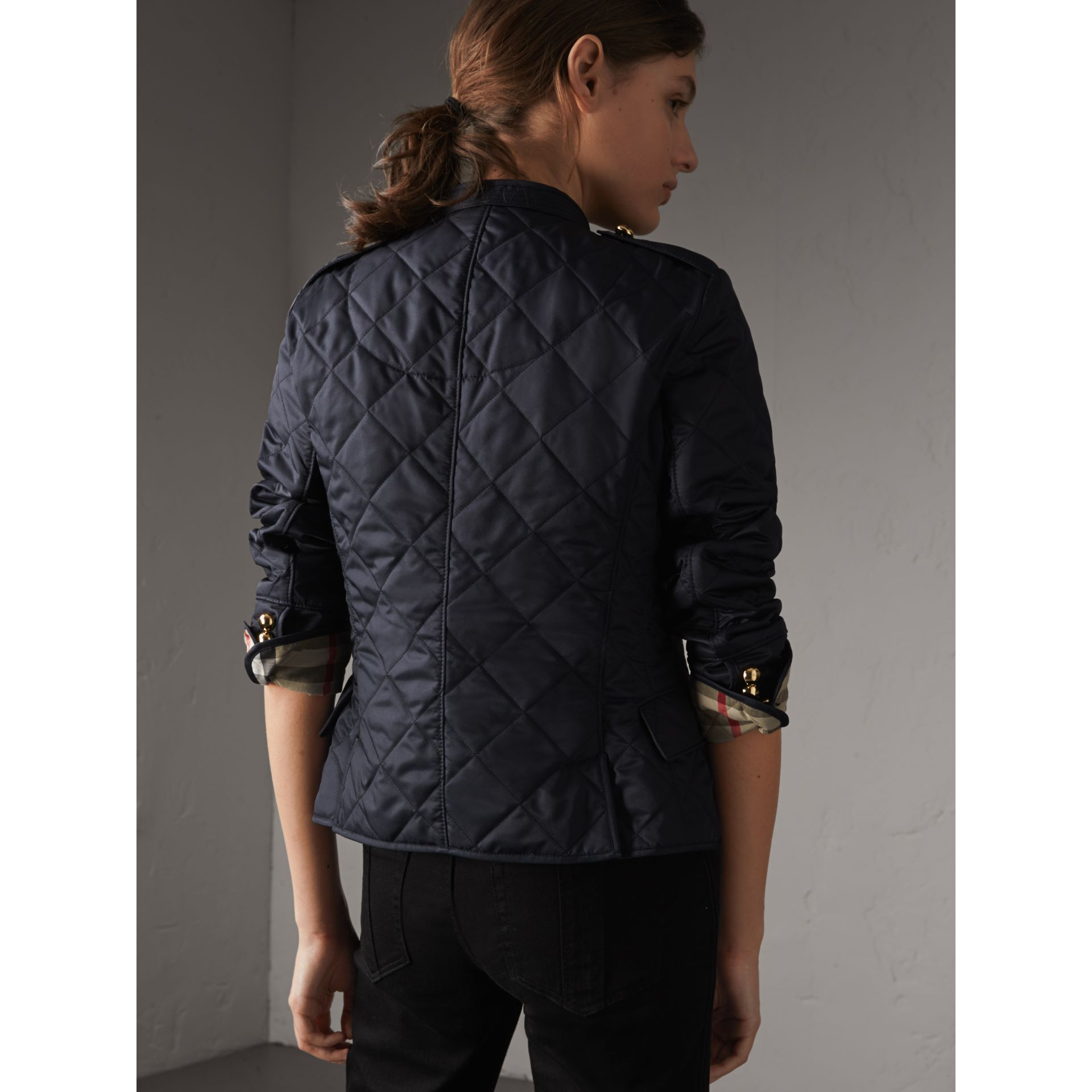 Double-breasted Quilted Military Jacket in Navy - Women | Burberry - gallery image 3