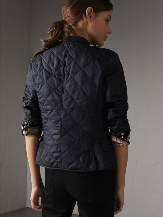 Double-breasted Quilted Military Jacket in Navy - Women | Burberry Australia - cell image 2