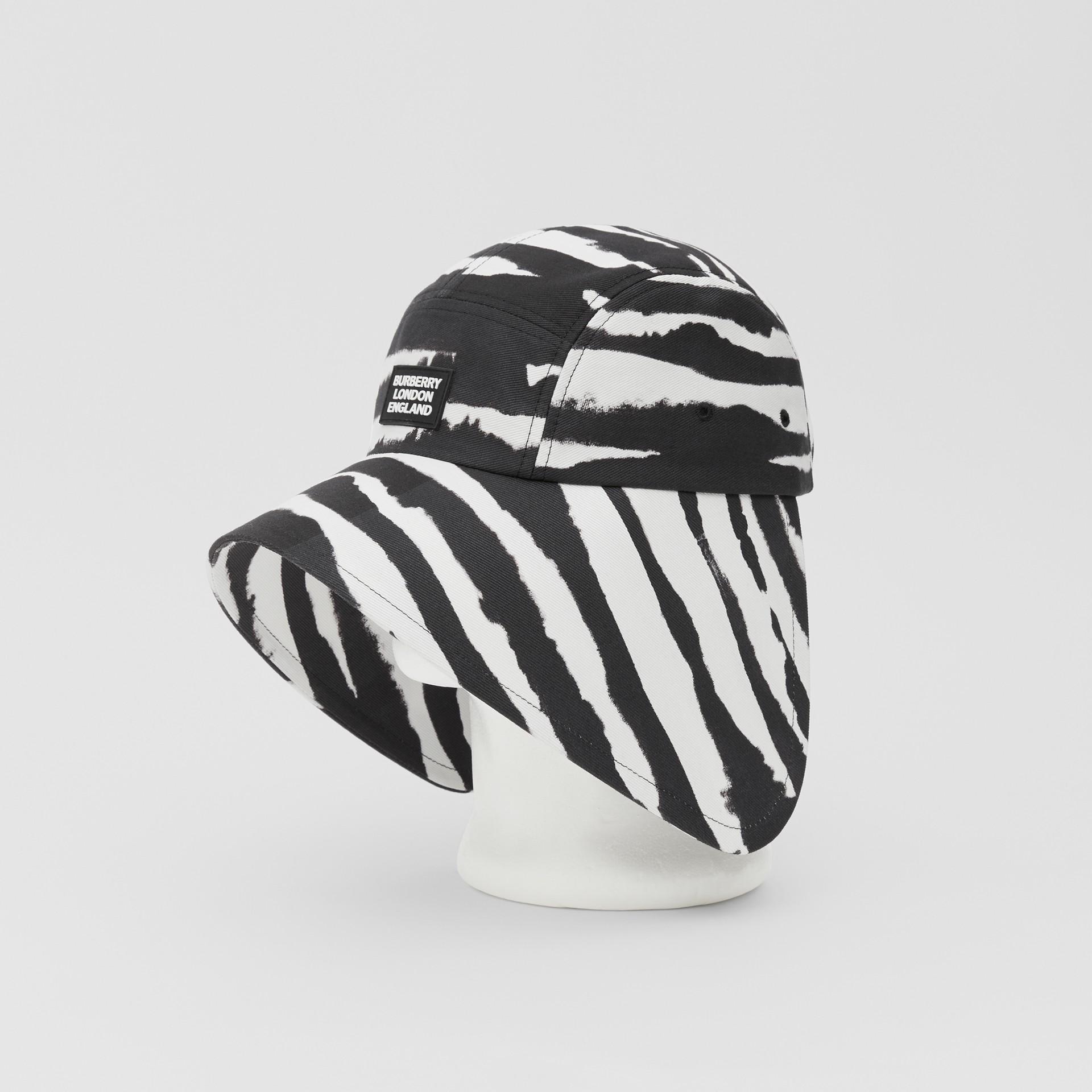 Watercolour Print Cotton Bonnet Cap in Black/white | Burberry United States - gallery image 7