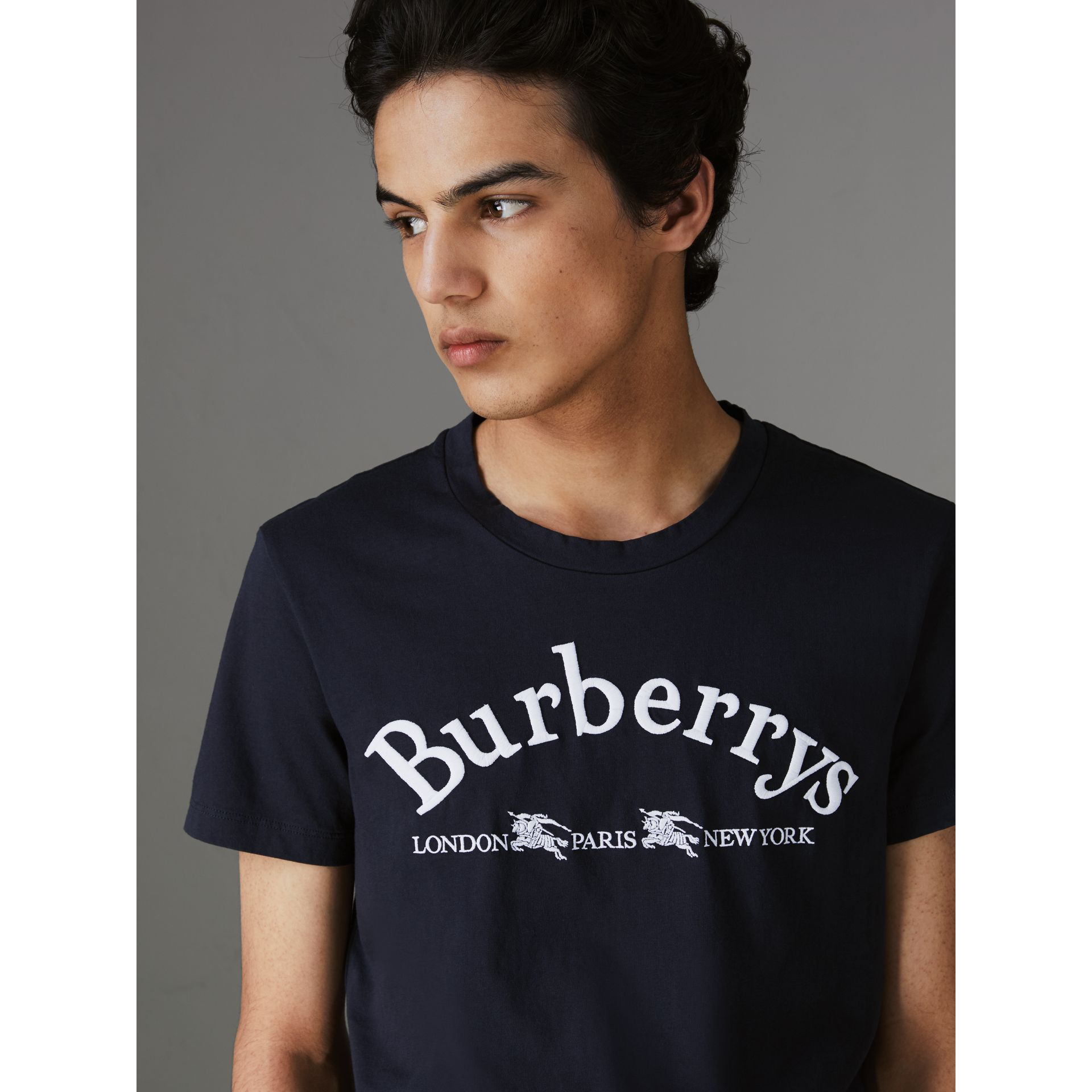 Archive Logo Cotton T-shirt in Navy - Men | Burberry Singapore - gallery image 1