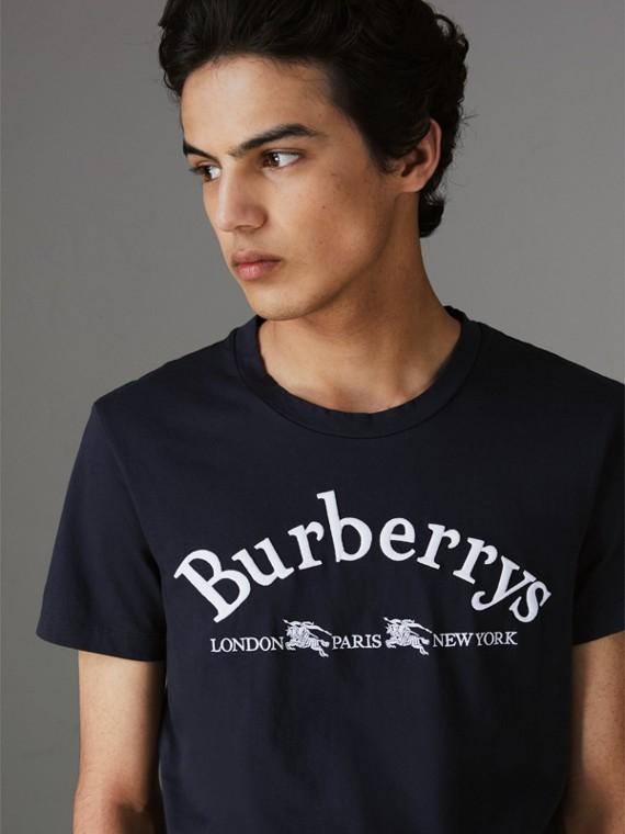 T-Shirt aus Baumwolle mit Vintage-Logo (Marineblau)