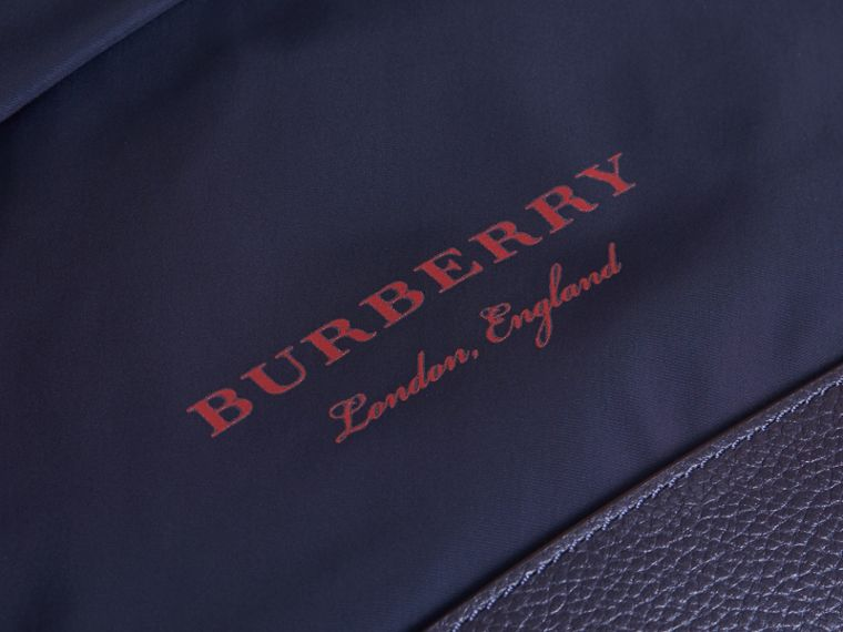 Leather Trim Lightweight Backpack in Ink | Burberry - cell image 1