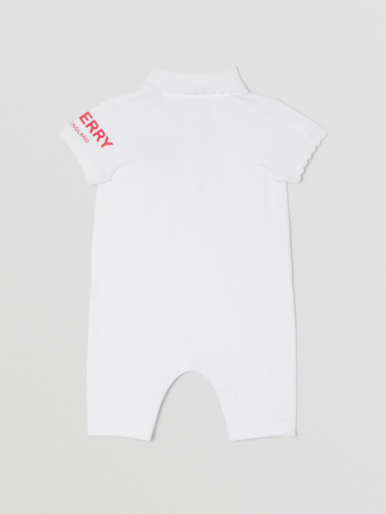 Thomas Bear Motif Cotton Piqué Playsuit in White