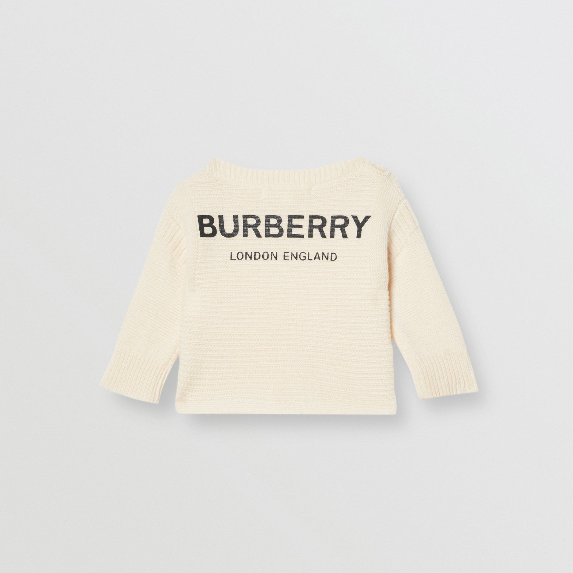 Logo Print Wool Cashmere Six-piece Baby Gift Set in Ivory - Children | Burberry United States - gallery image 4