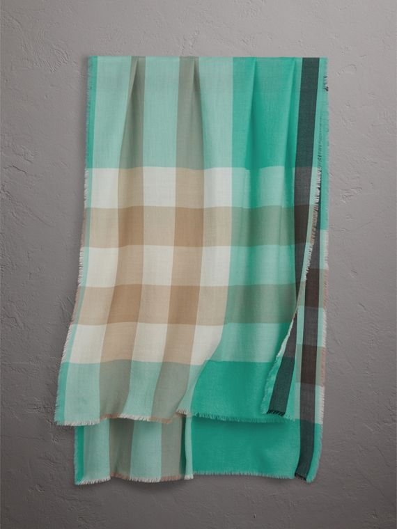 The Lightweight Check Cashmere Scarf in Bright Aqua