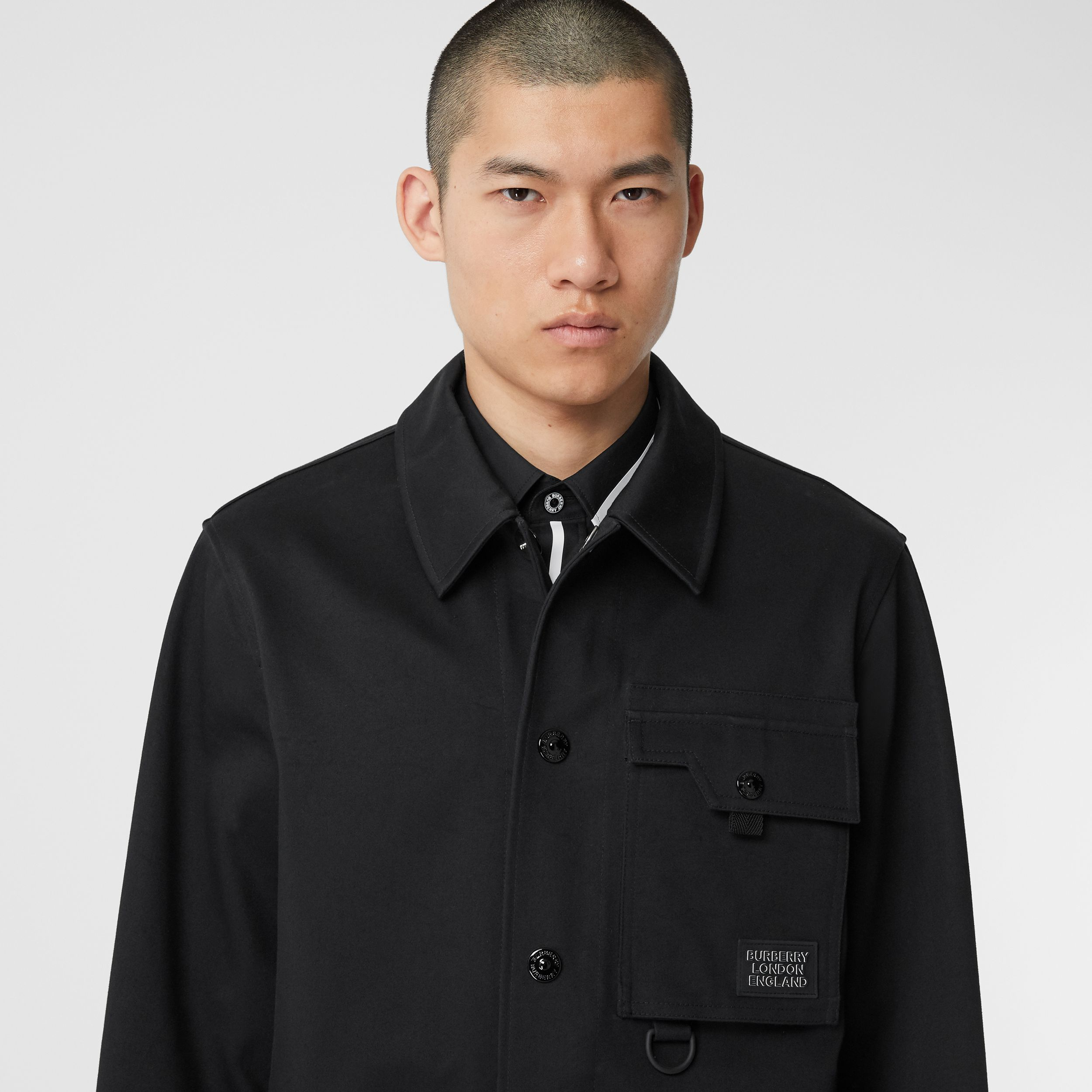Logo Appliqué Bonded Cotton Sateen Jacket in Black - Men | Burberry - 2