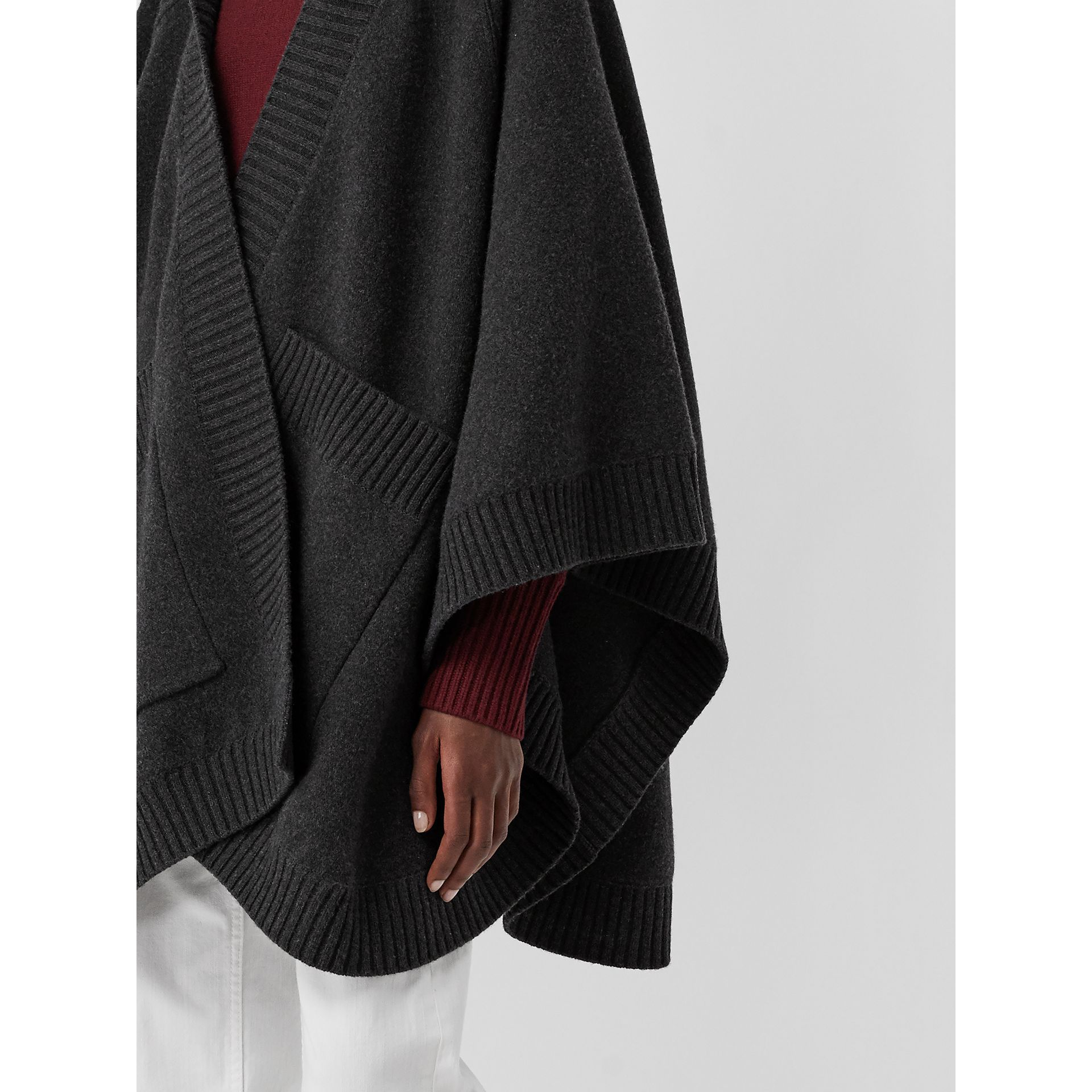 Crest Wool Blend Jacquard Hooded Cape in Charcoal - Women | Burberry Australia - gallery image 1