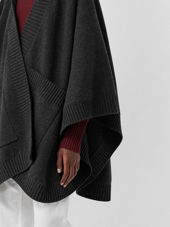 Crest Wool Blend Jacquard Hooded Cape in Charcoal - Women | Burberry Australia - cell image 1