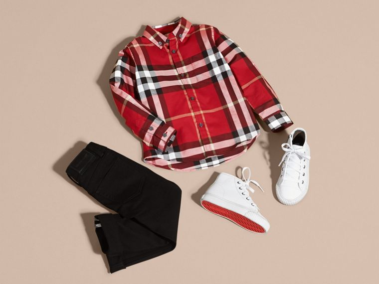 Check Cotton Button-Down Shirt in Parade Red - Boy | Burberry - cell image 4