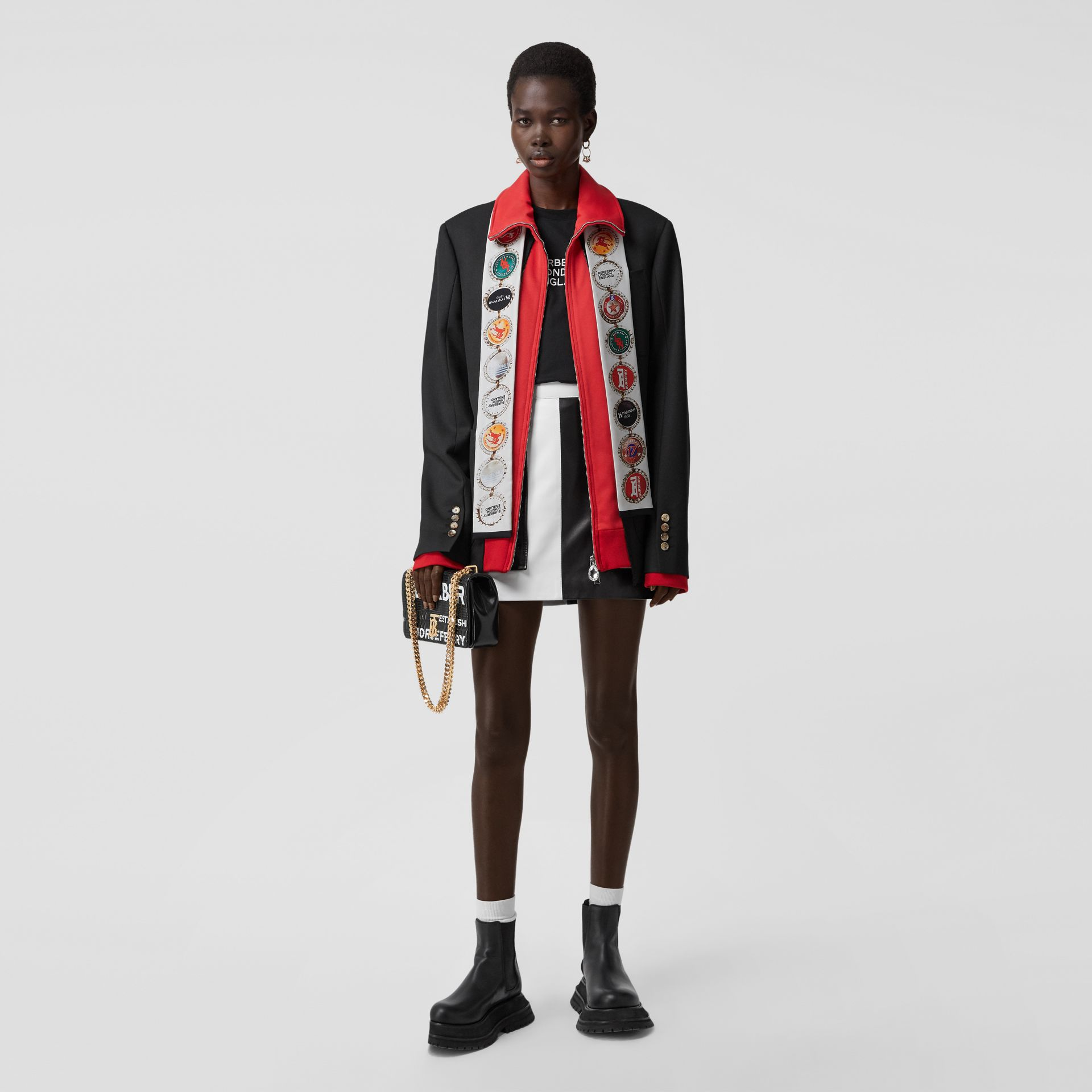 Bottle Cap and Icon Stripe Print Silk Skinny Scarf in White   Burberry United States - gallery image 6