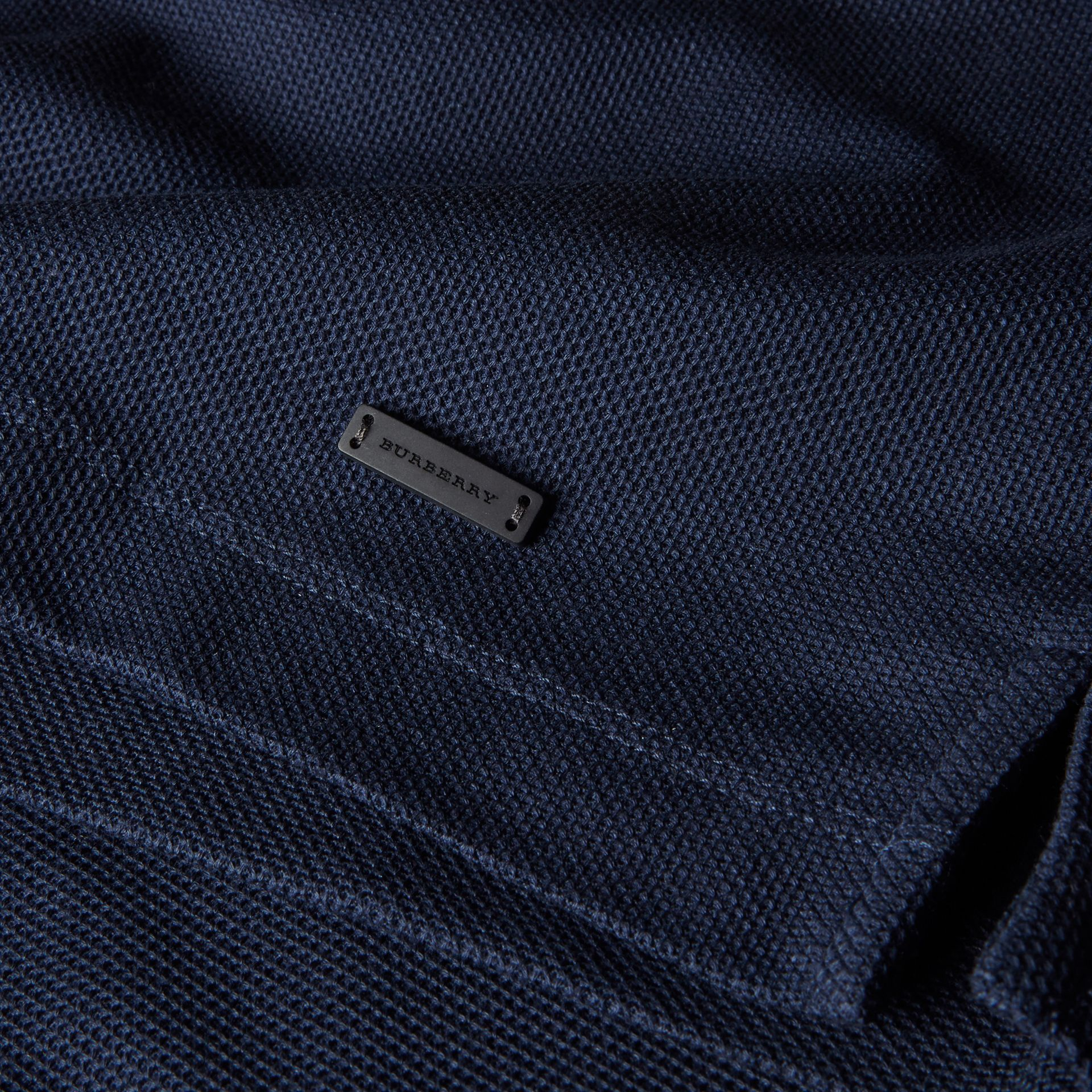 Navy Piped Cotton Piqué Polo Shirt Navy - gallery image 2