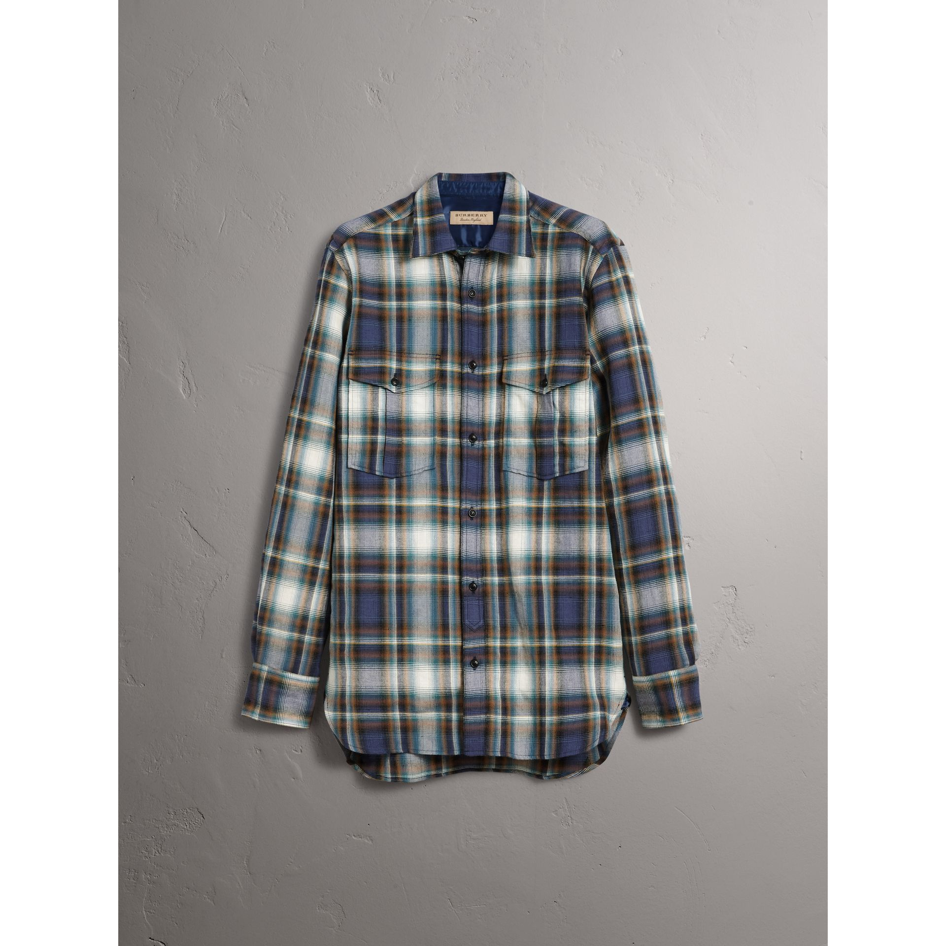 Check Wool Linen Cotton Flannel Shirt in Ink Blue - Men | Burberry - gallery image 3