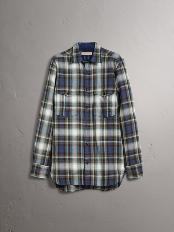 Check Wool Linen Cotton Flannel Shirt in Ink Blue - Men | Burberry - cell image 2
