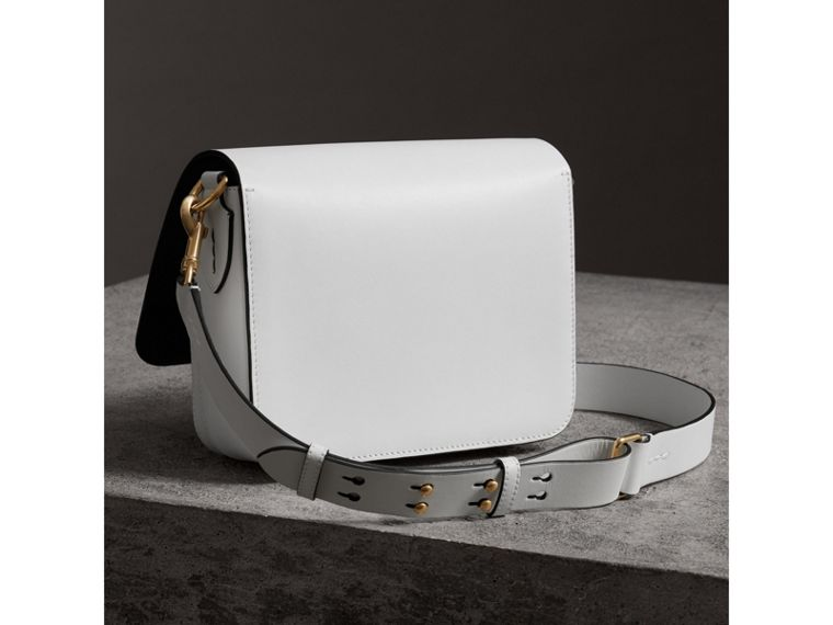 The Large Square Satchel in Leather in Chalk White - Women | Burberry - cell image 4