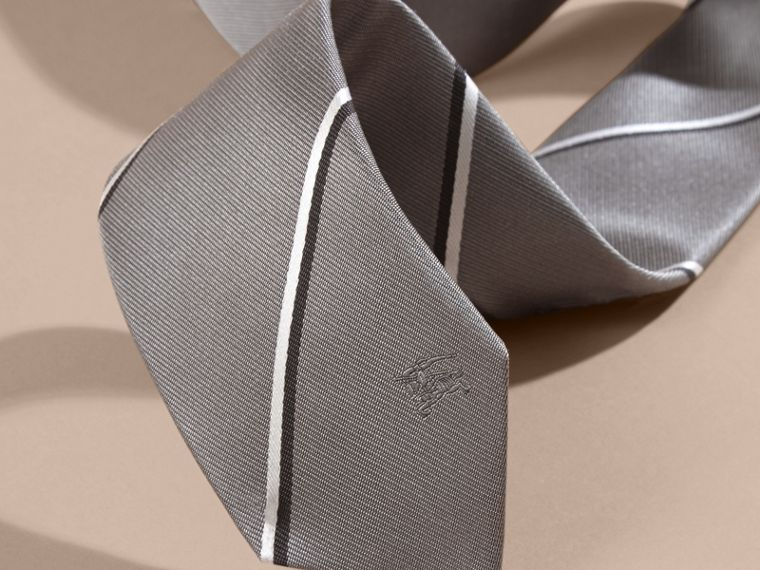 Slim Fit Striped Silk Tie in Charcoal - cell image 1