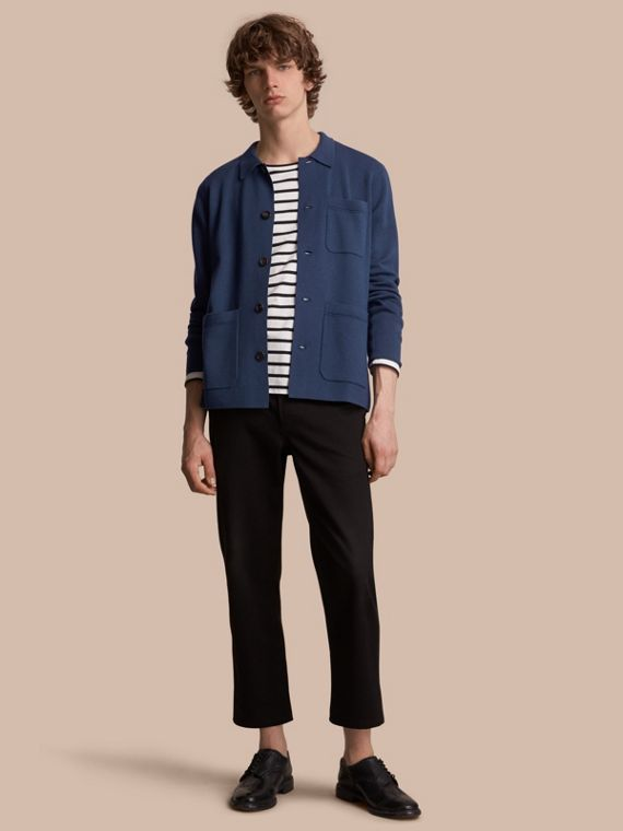 Knitted Cashmere Cotton Workwear Jacket in Steel Blue