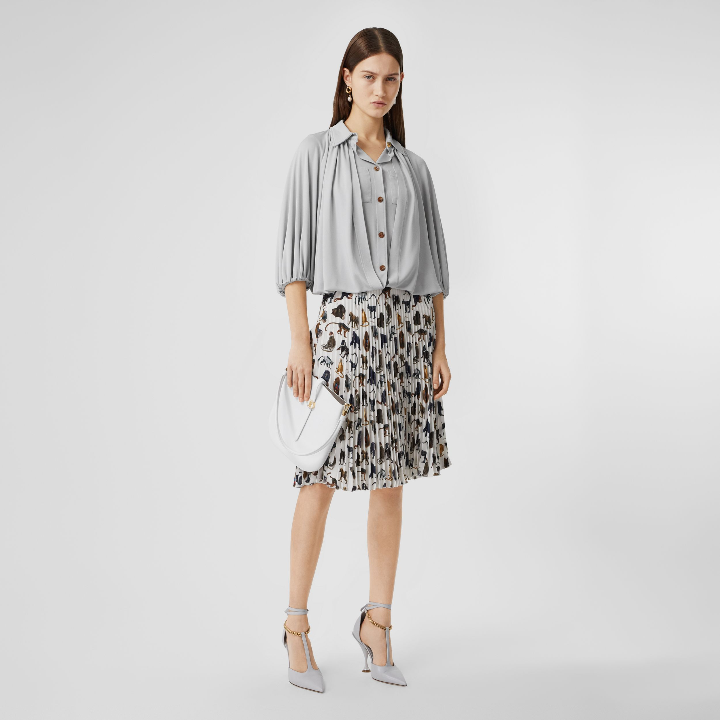 Gathered Jersey Bubble Hem Blouse in Light Pebble Grey - Women | Burberry Australia - 1