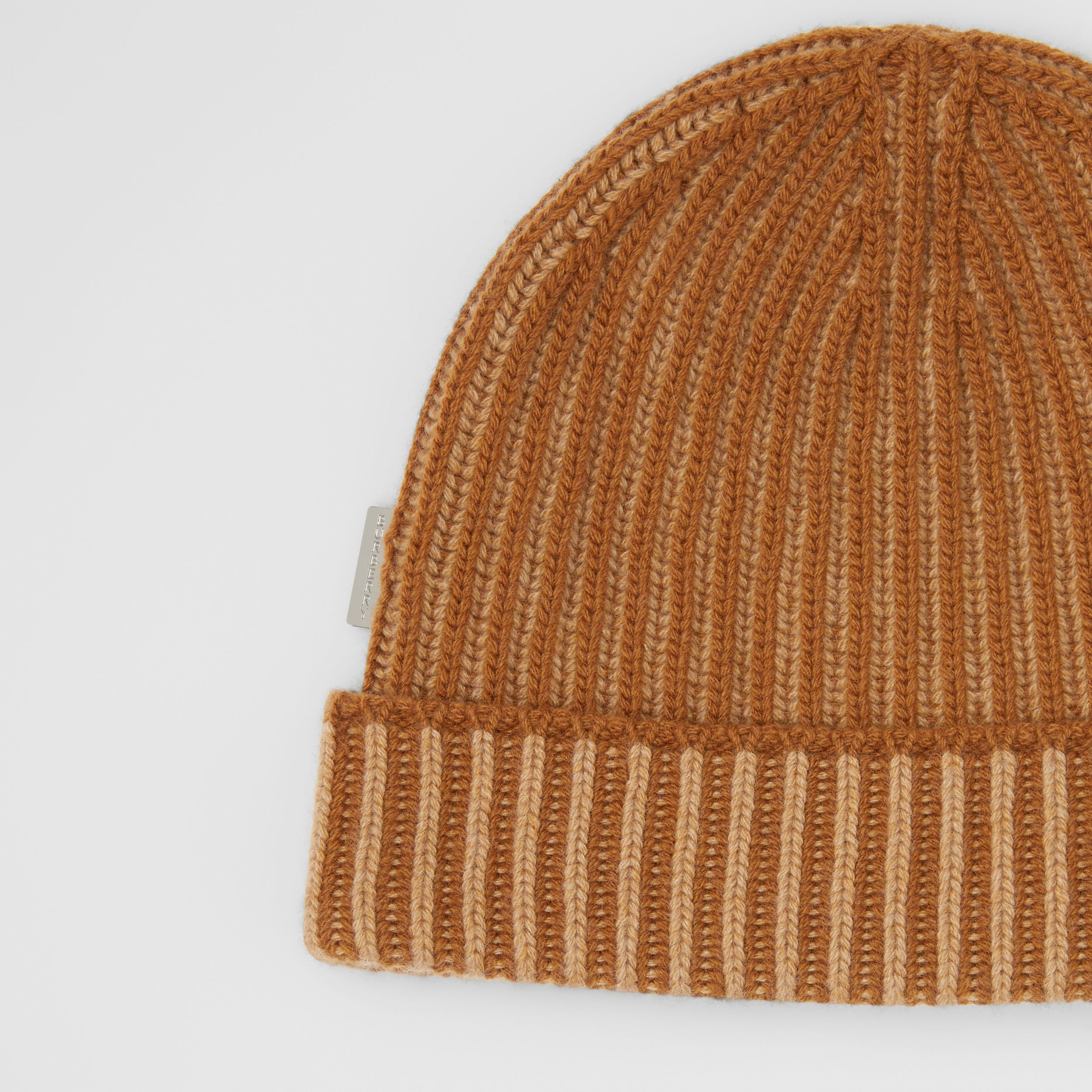 Rib Knit Cashmere Beanie in Camel | Burberry Canada - 2