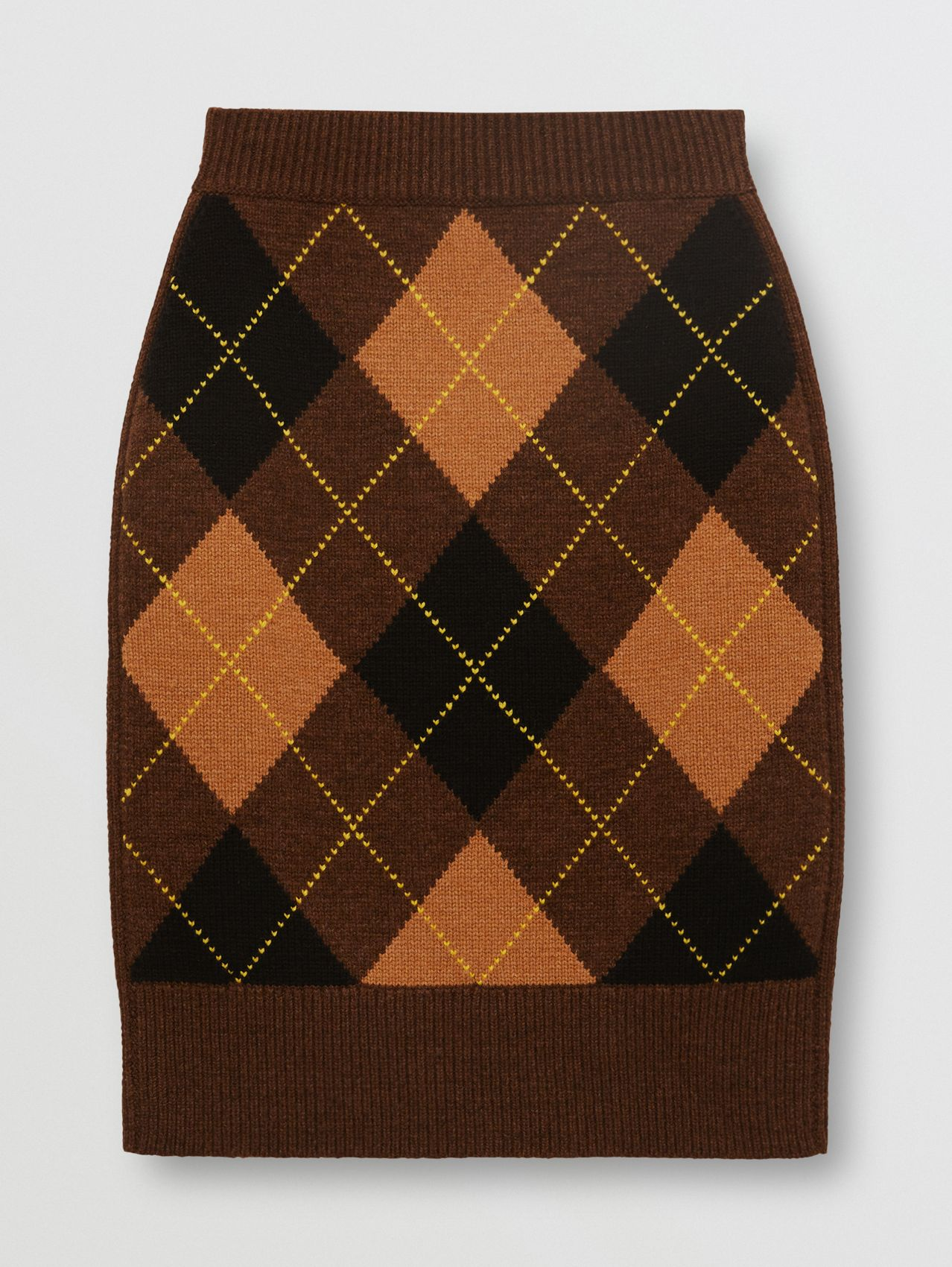 Argyle Intarsia Wool Cashmere Pencil Skirt in Dark Khaki