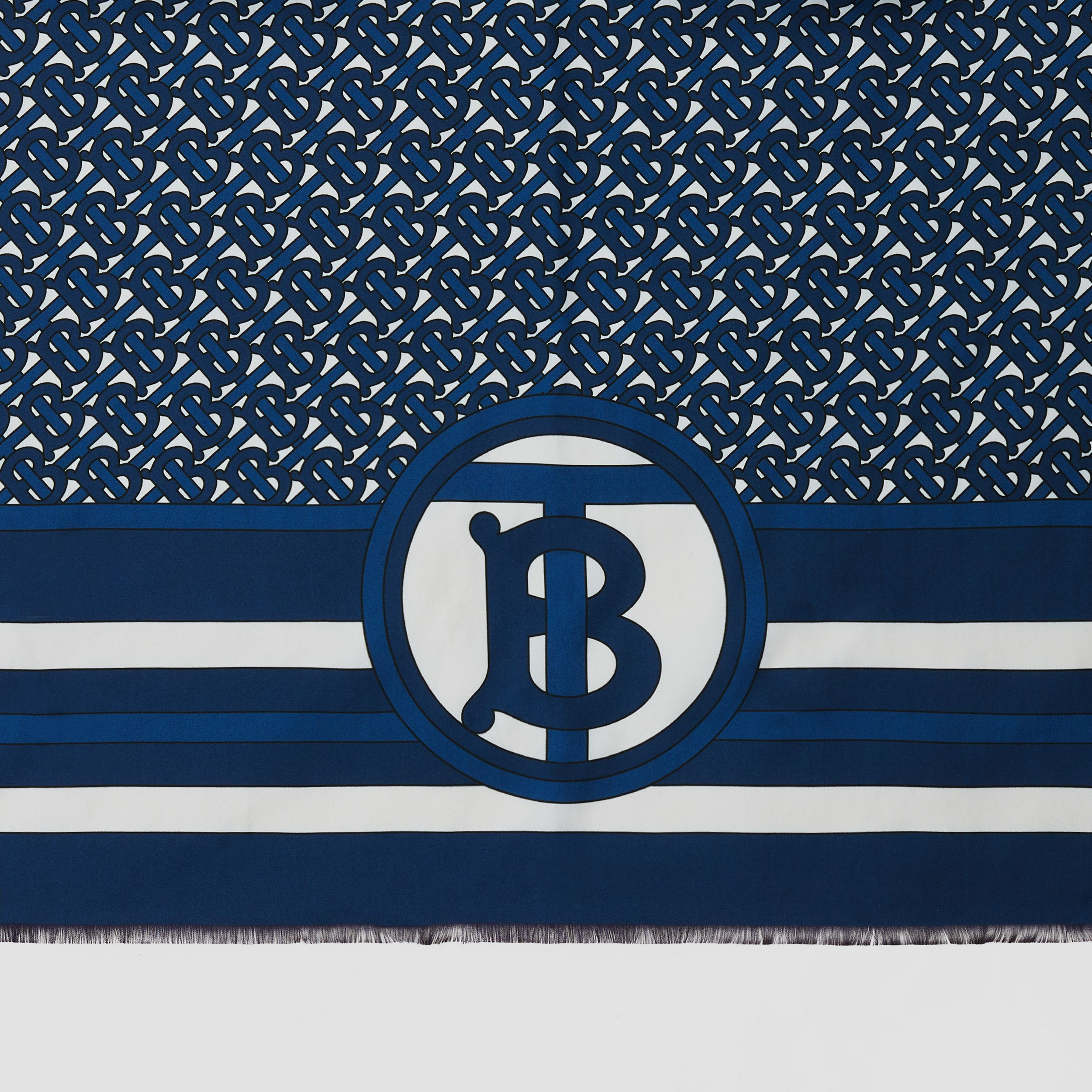 Reversible Monogram Print Silk Scarf in Cerulean Blue | Burberry - 2