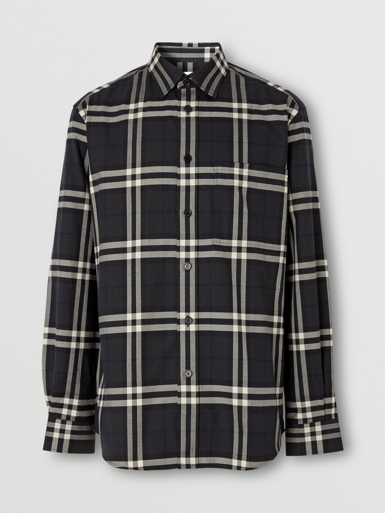 Vintage Check Cotton Flannel Shirt in Charcoal