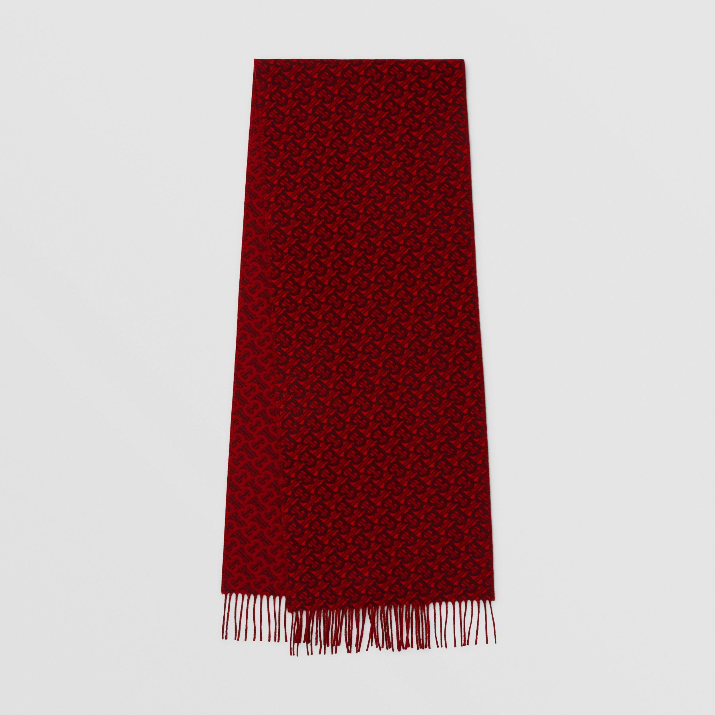Monogram Cashmere Jacquard Scarf in Red | Burberry Australia - 1