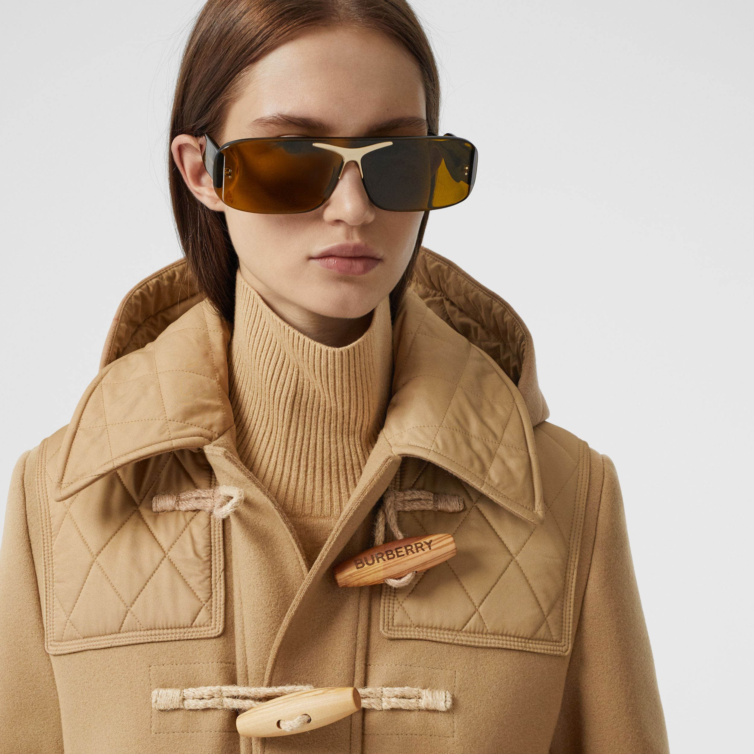 Diamond Quilted Panel Technical Wool Duffle Coat in Camel - Women | Burberry - 2