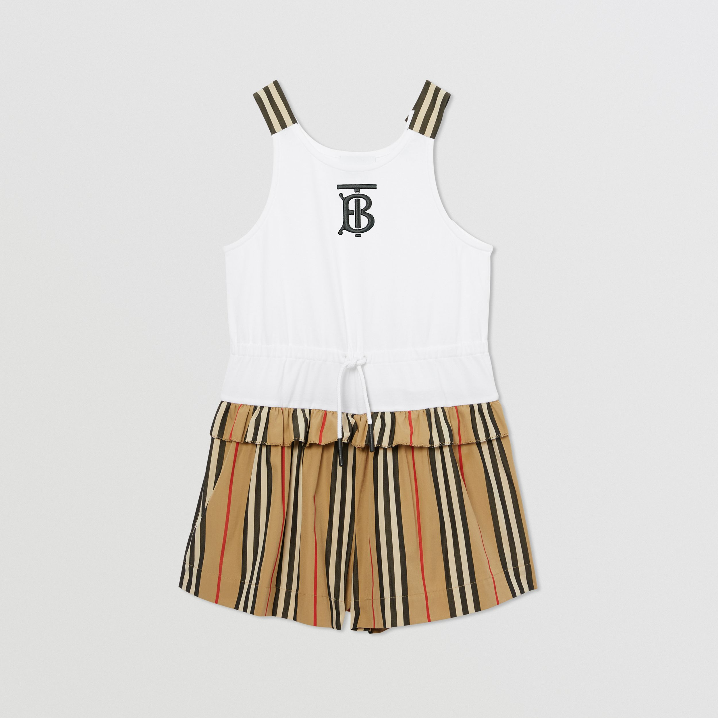 Monogram Motif Icon Stripe Detail Cotton Playsuit in Archive Beige | Burberry United Kingdom - 1