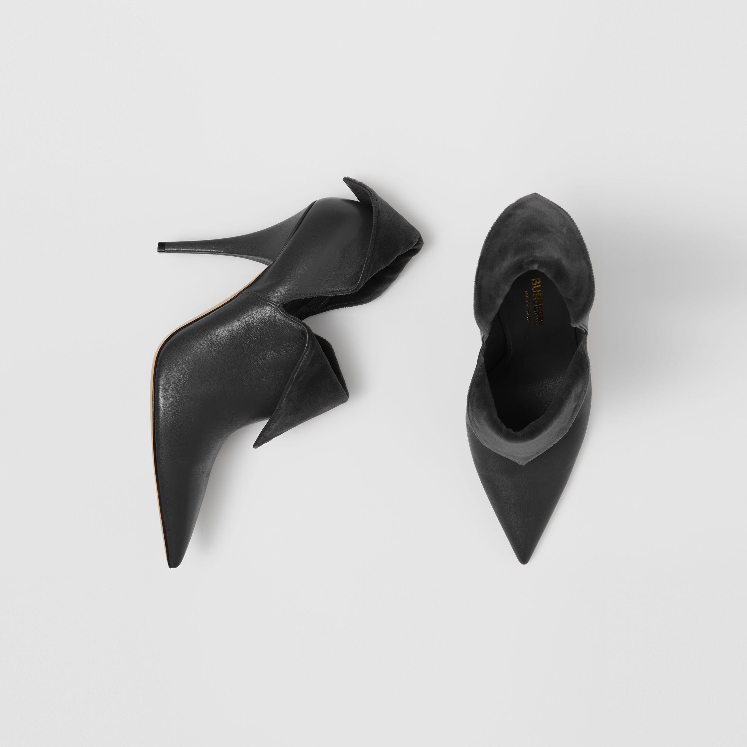 Velvet and Lambskin Foldover Point-toe Pumps in Black - Women | Burberry - 1