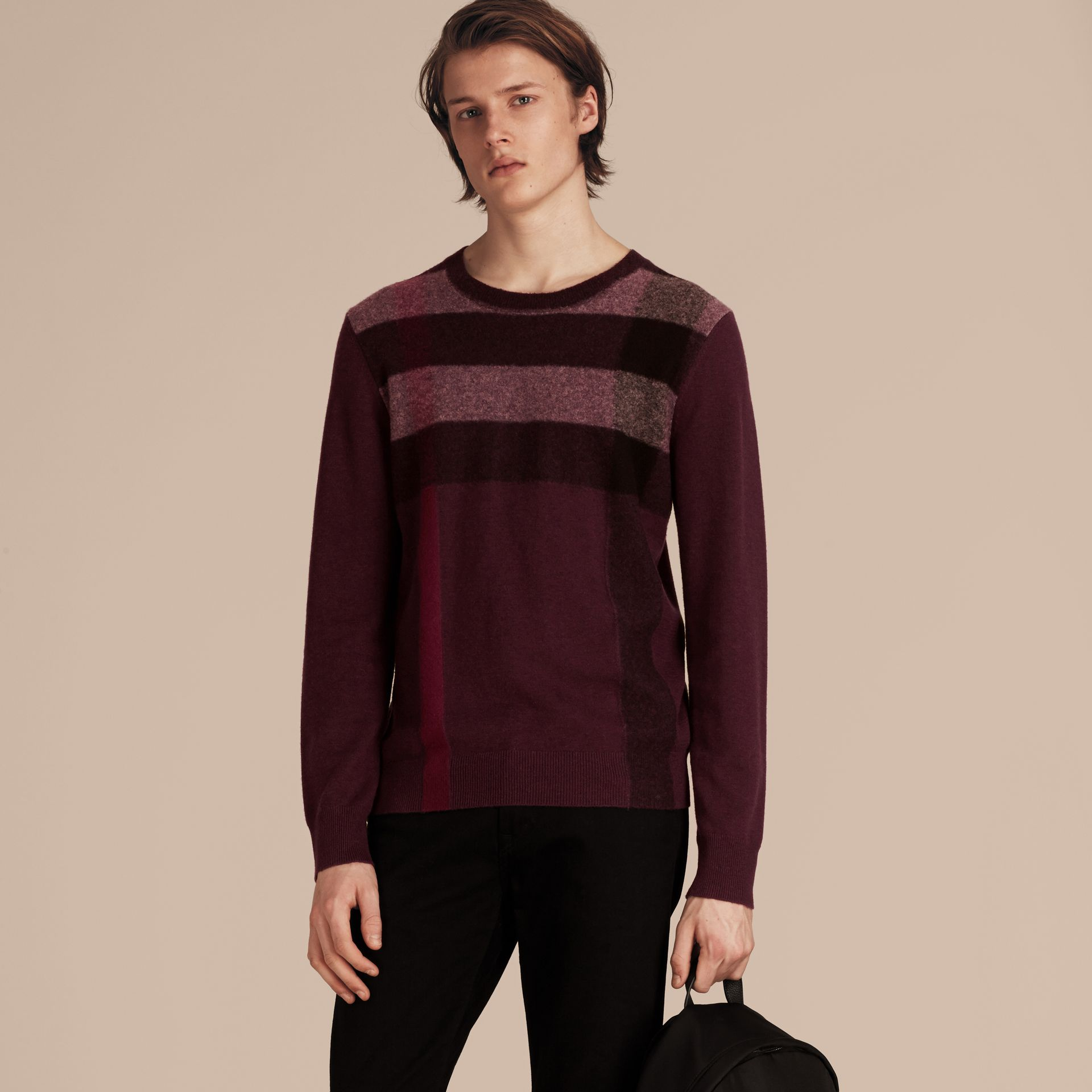 Graphic Check Cashmere Cotton Sweater in Burgundy Red - gallery image 6