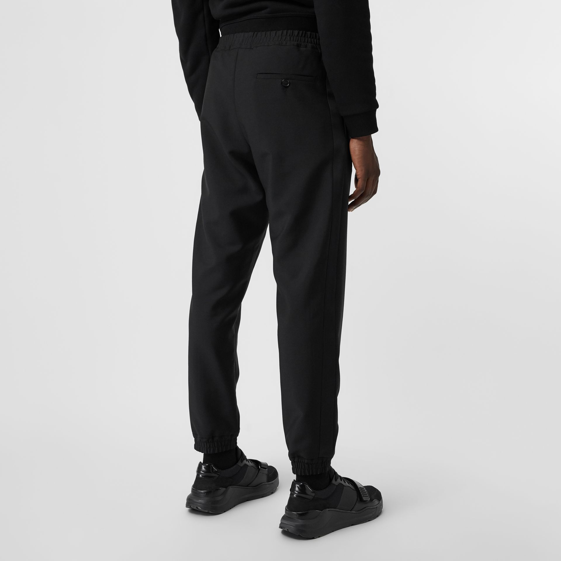 Wool Mohair Tapered Trousers in Black - Men | Burberry Singapore - gallery image 2