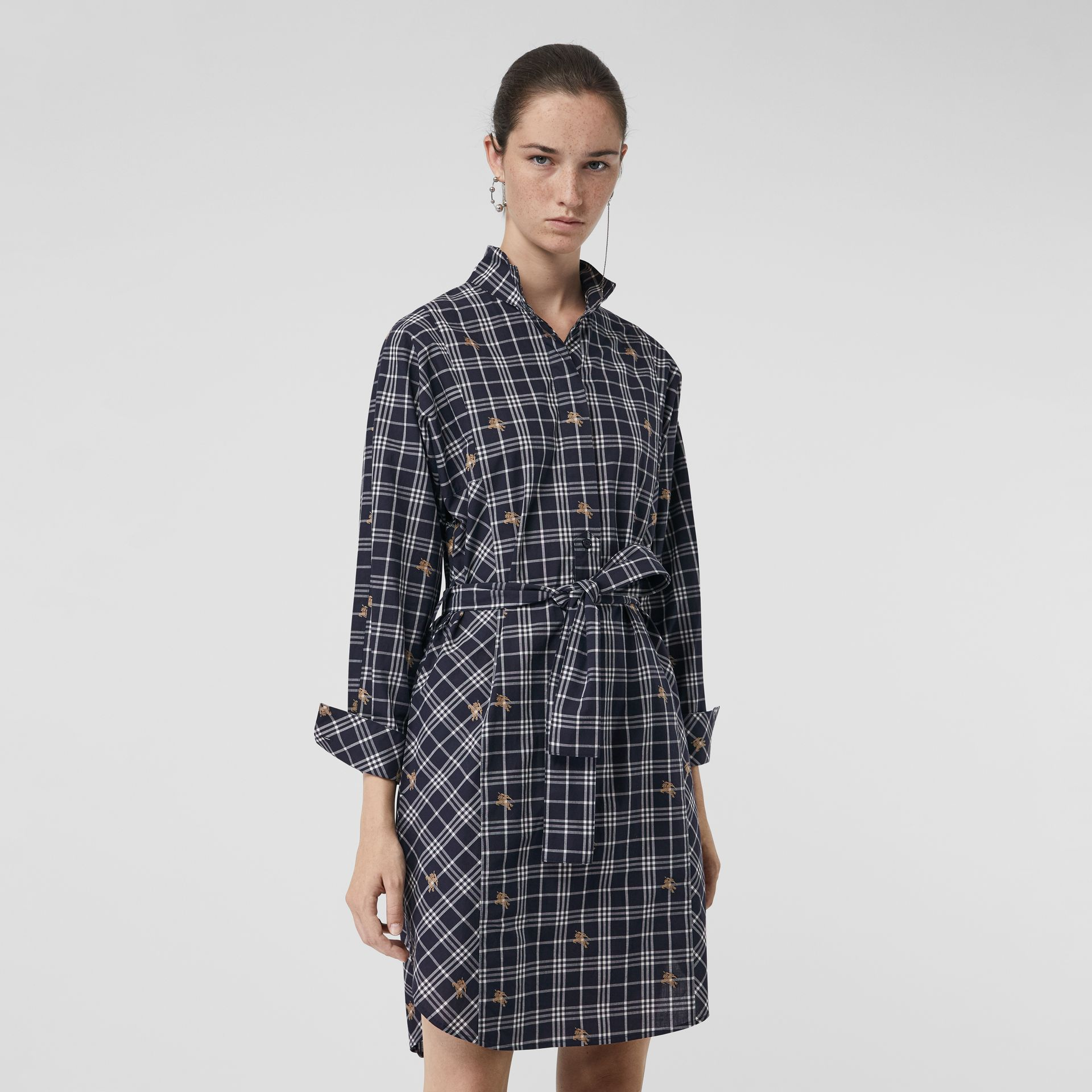 Equestrian Knight Check Tie-waist Shirt Dress in Navy - Women | Burberry - gallery image 0