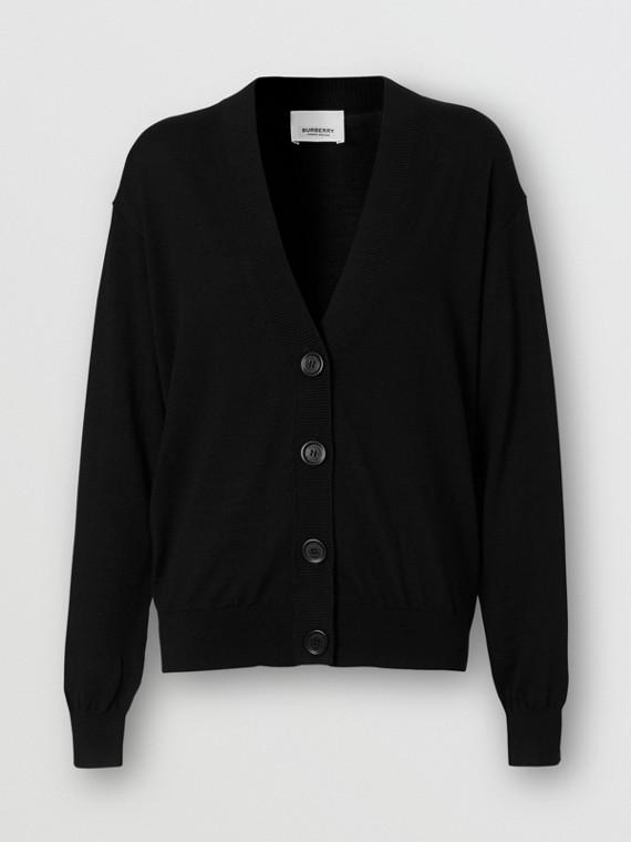 Vintage Check Detail Merino Wool Cardigan in Black