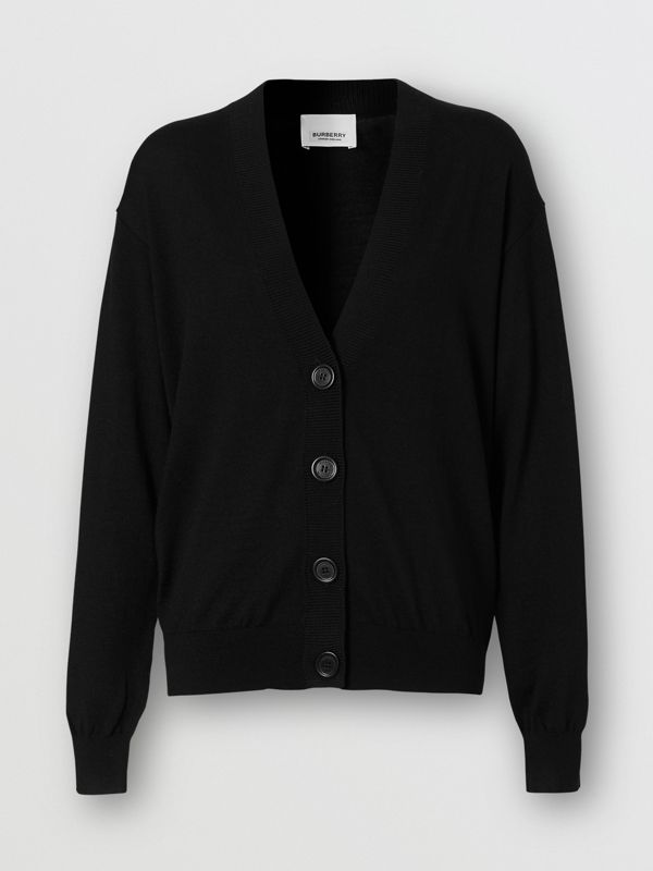 Vintage Check Detail Merino Wool Cardigan in Black - Women | Burberry - cell image 3