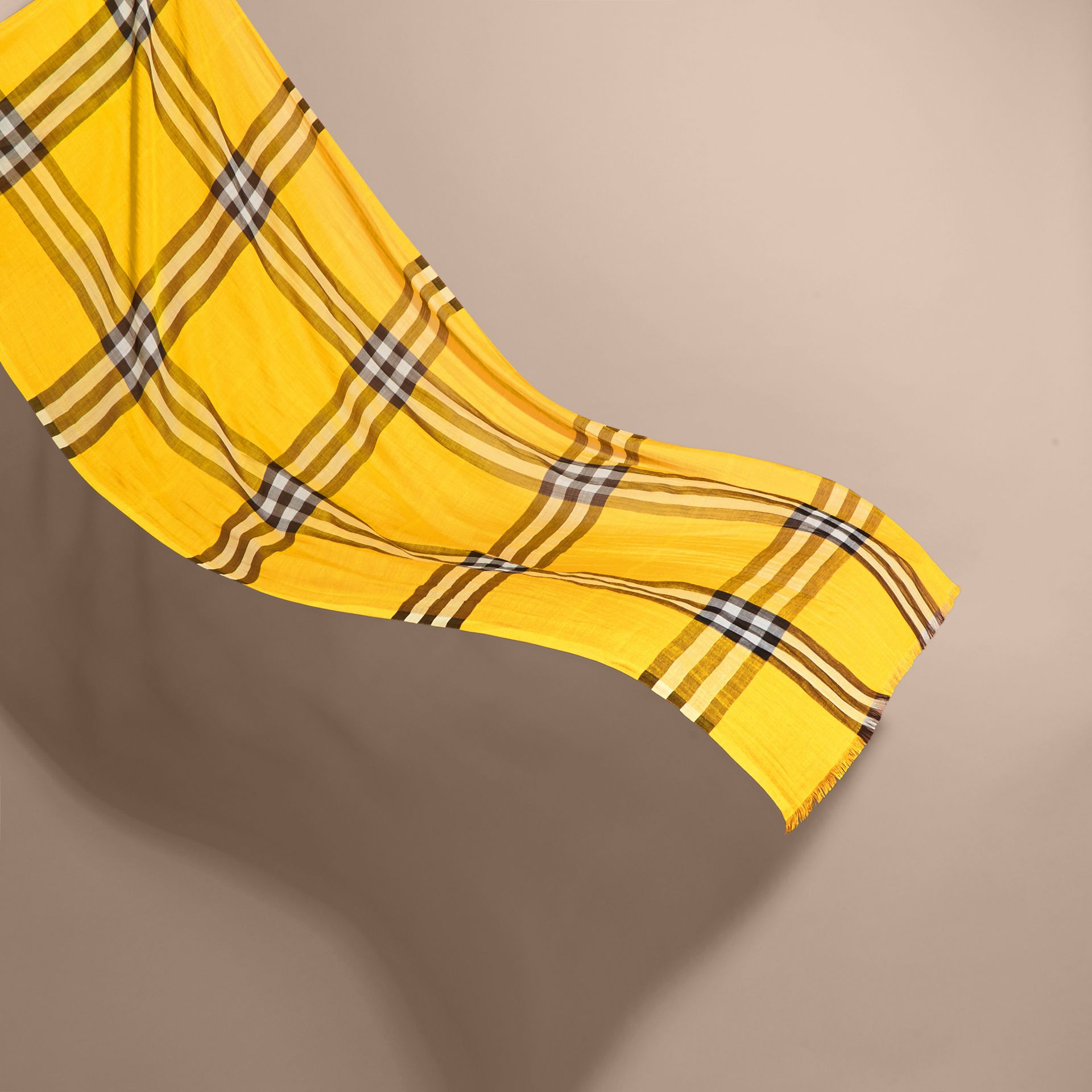Lightweight Check Wool and Silk Scarf in Gorse Yellow - gallery image 3