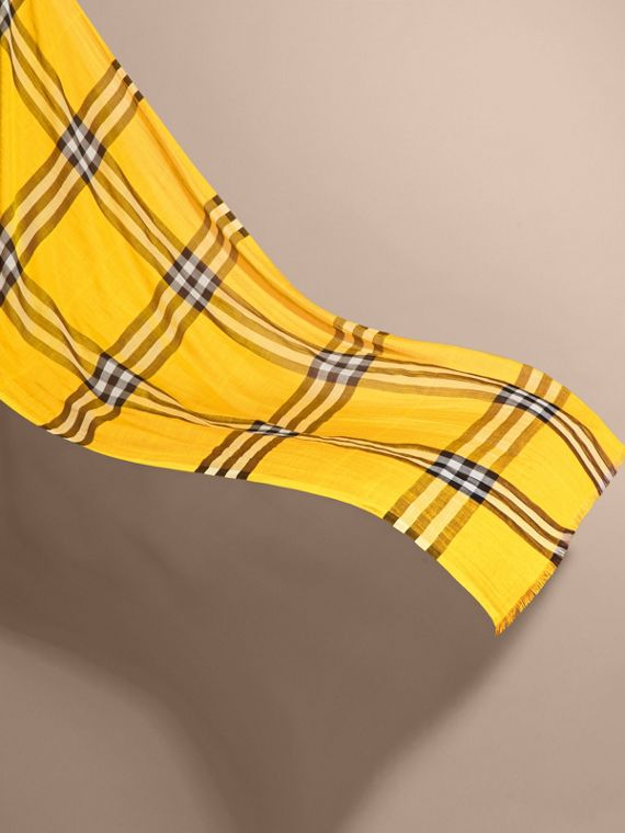 Lightweight Check Wool and Silk Scarf in Gorse Yellow - cell image 2
