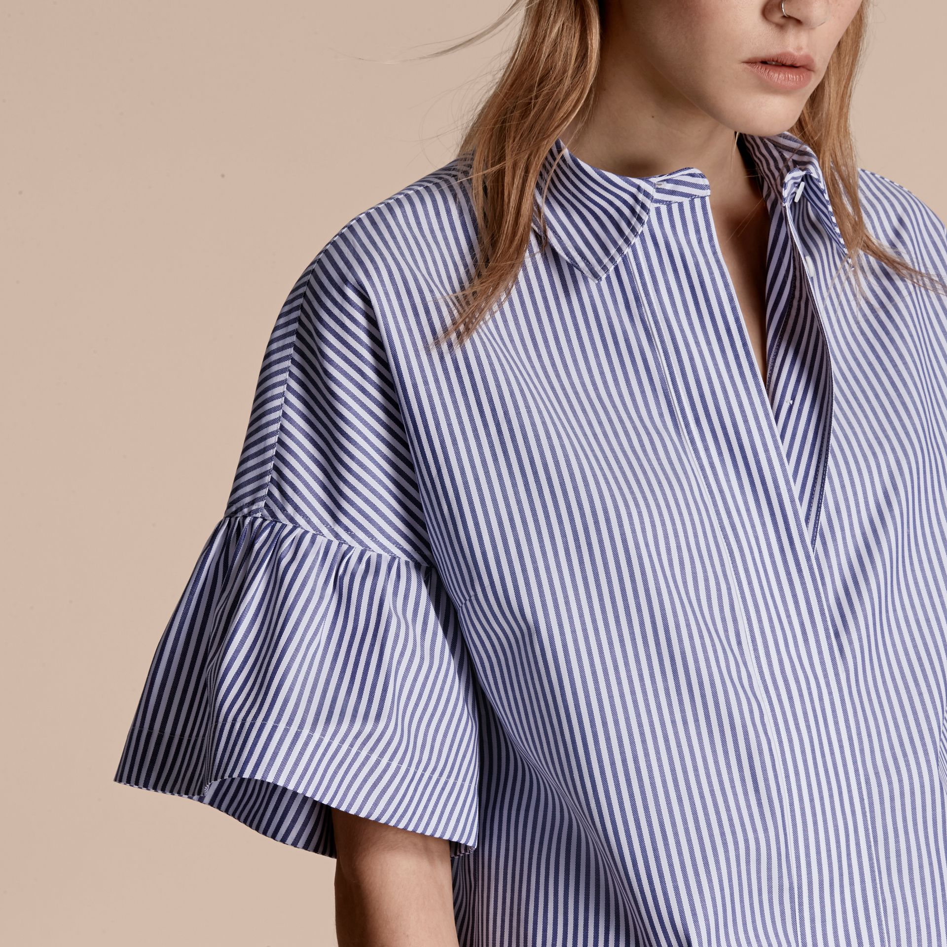 Navy Striped Cotton Shirt with Ruched Sleeves - gallery image 5