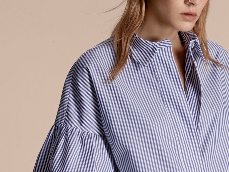 Navy Striped Cotton Shirt with Ruched Sleeves - cell image 4