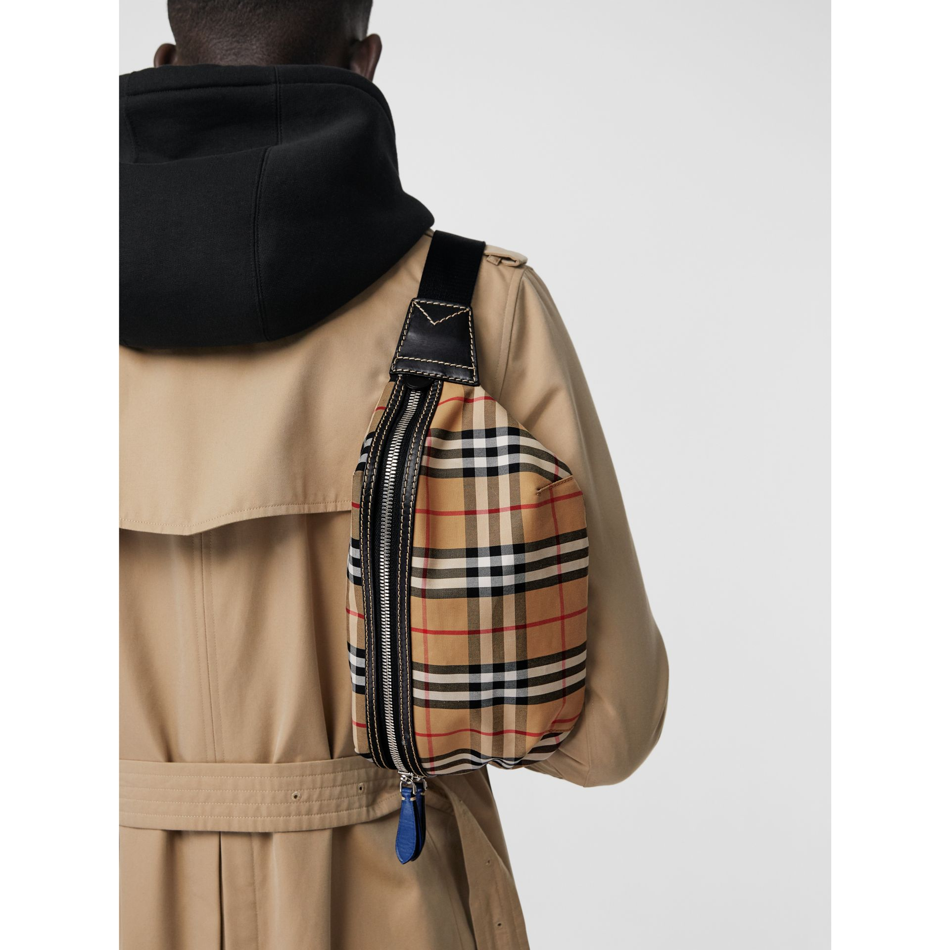 Medium Vintage Check Bum Bag in Canvas Blue - Men | Burberry - gallery image 3