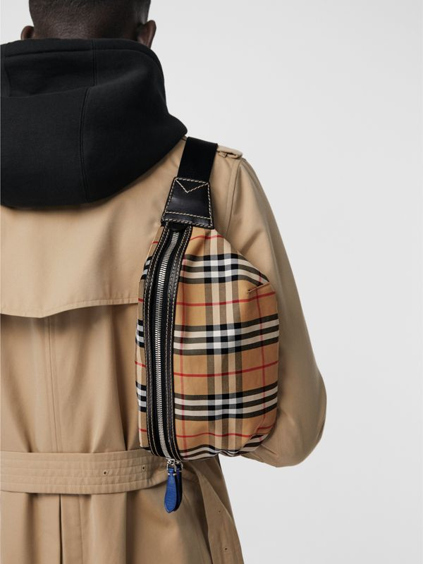 Medium Vintage Check Bum Bag in Canvas Blue - Men | Burberry - cell image 3