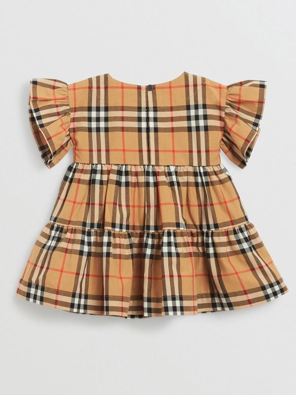 Ruffle Detail Vintage Check Dress with Bloomers in Antique Yellow - Children | Burberry United Kingdom - cell image 3